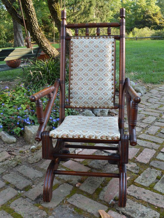Antique Victorian Hand Carved Rocking Chair Local