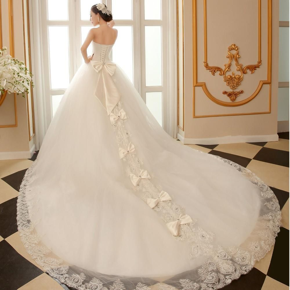 Ball ggown wedding dress with cathedral train bling luxury