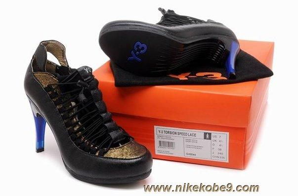 a69bc1b6a60 Women Womens Heels Sandals Black Gold Shoes Adidas Y-3 Torsion Heel 90  Speed Lace Sale