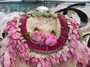 Magnolia-Pearl-Purse-OOAK-Handmade-Silk-Velvet-PINK-Roses-European-Cut-Velvet