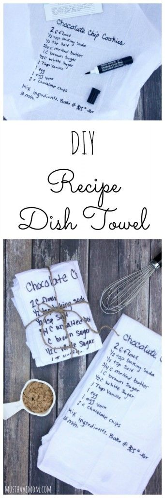 DIY Recipe Dish Towels! Inexpensive Mother's Day Gift Idea #dishtowels