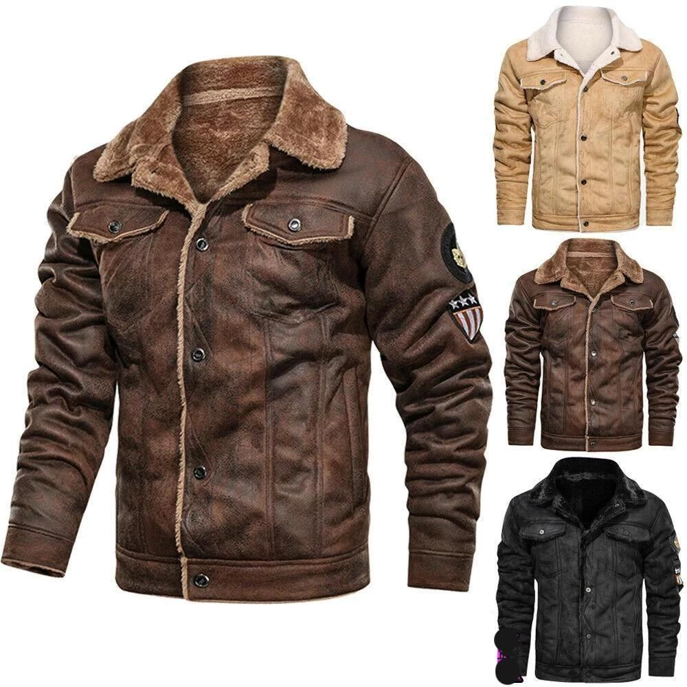 Mens Leather Pilot Air Force Warm Fur Lining Jacket Hooded