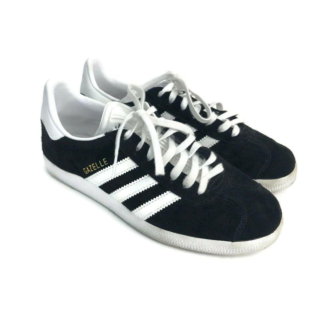 Adidas Women's Gazelle Black White 3 Stripes Sneakers