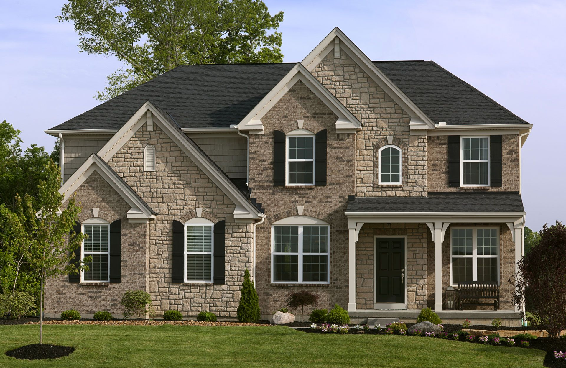 The buchanan e exterior with brick and stone accents for Brick houses with stone accents