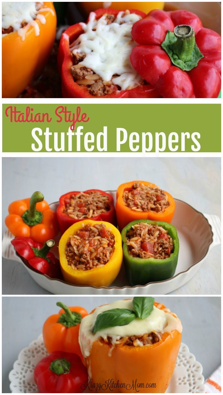 Italian Style Stuffed Bell Peppers Krazy Kitchen Mom Recipe Stuffed Peppers Stuffed Bell Peppers Food Dishes