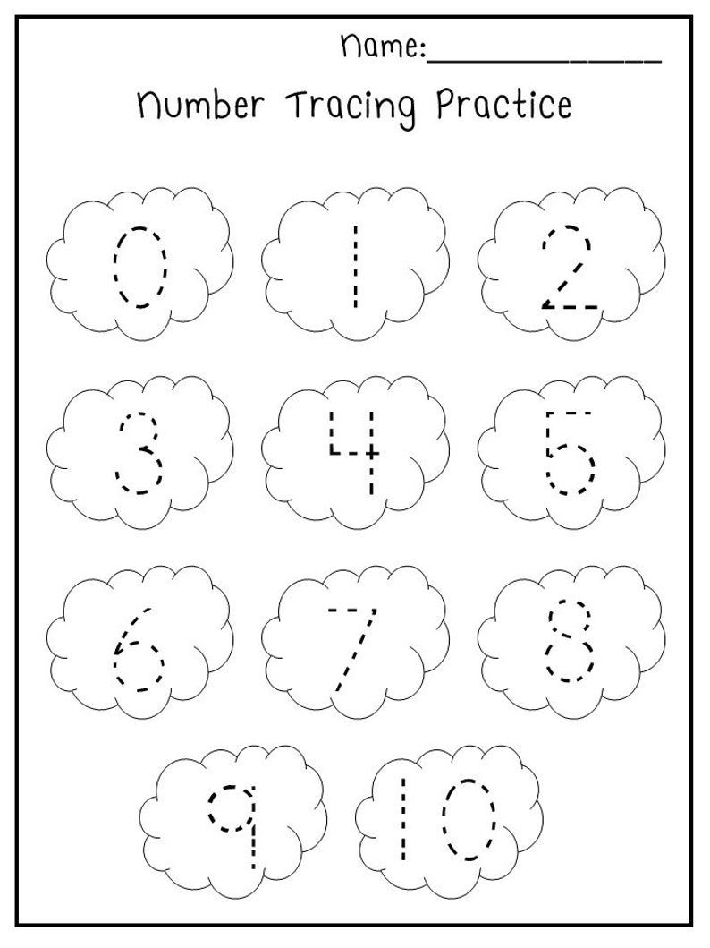 5 Printable Spring Trace the Numbers Worksheets. Etsy in