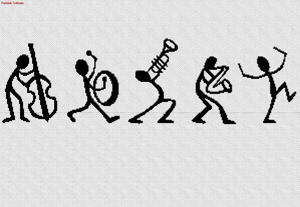 Musicos en punto cruz