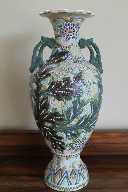Japanese Moriage Vase Antique Japanese Porcelain Gold Moriage