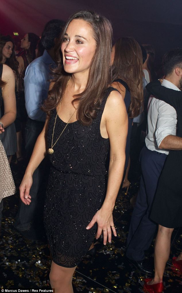 The brunette chose an all black outfit featuring a beaded cocktail dress and a tuxedo jacket for her friends club launch