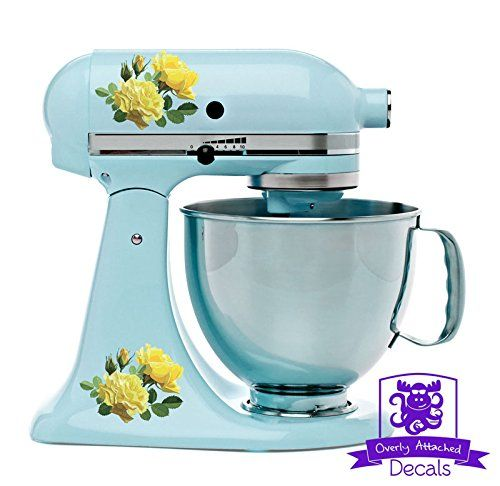Blue and Yellow Roses Kitchen Stand Mixer Appliance Decal Front/Ba
