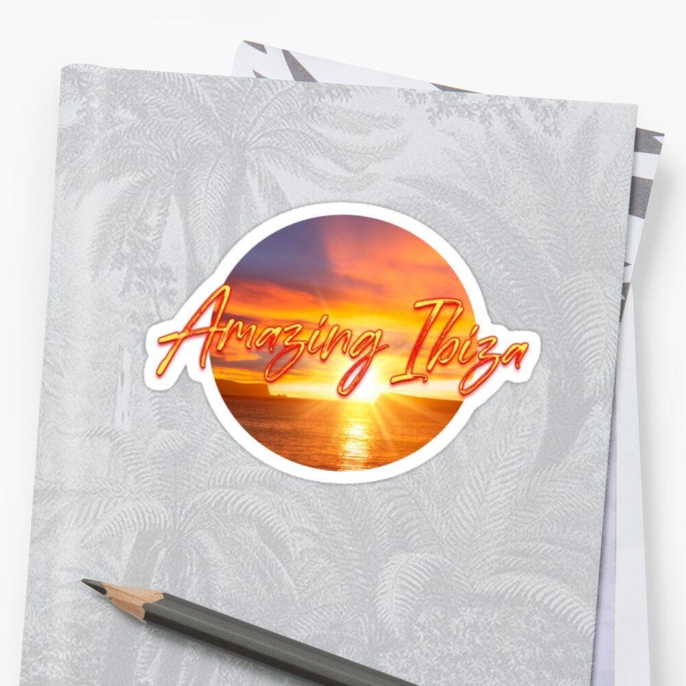 Pegatina donde puede verse una puesta de sol y el texto amazing Ibiza
