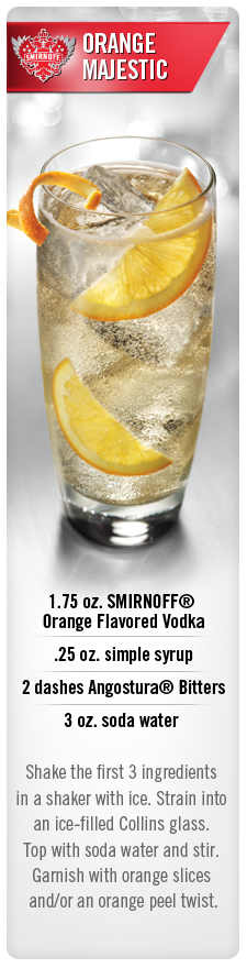Orange Majestic cocktail with Smirnoff Orange flavored vodka and soda water #Smirnoff #vodka #drink #recipe