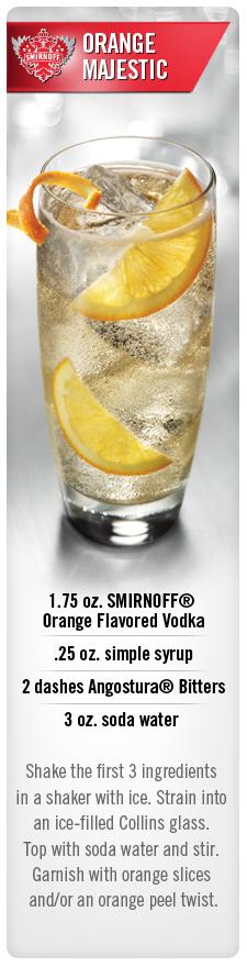 Orange Majestic cocktail with Smirnoff Orange flavored vodka and soda water #Smirnoff #vodka #drink #recipe