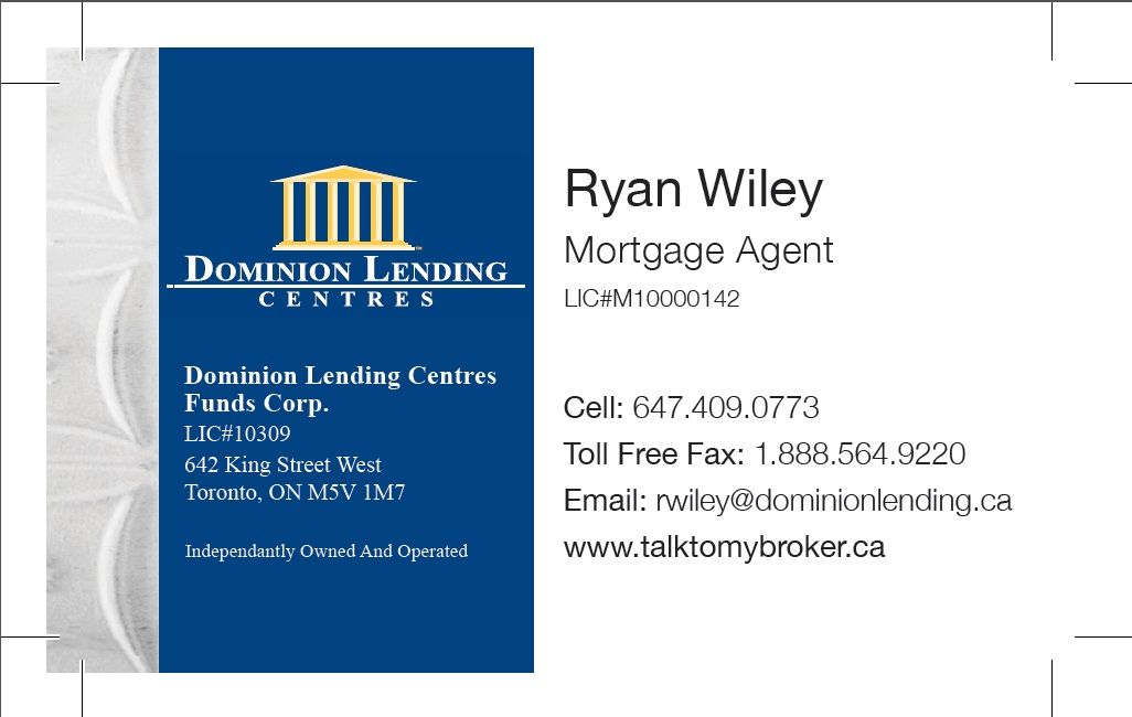 Ryan Wiley Business Card Burlington On Mortgage Brokers