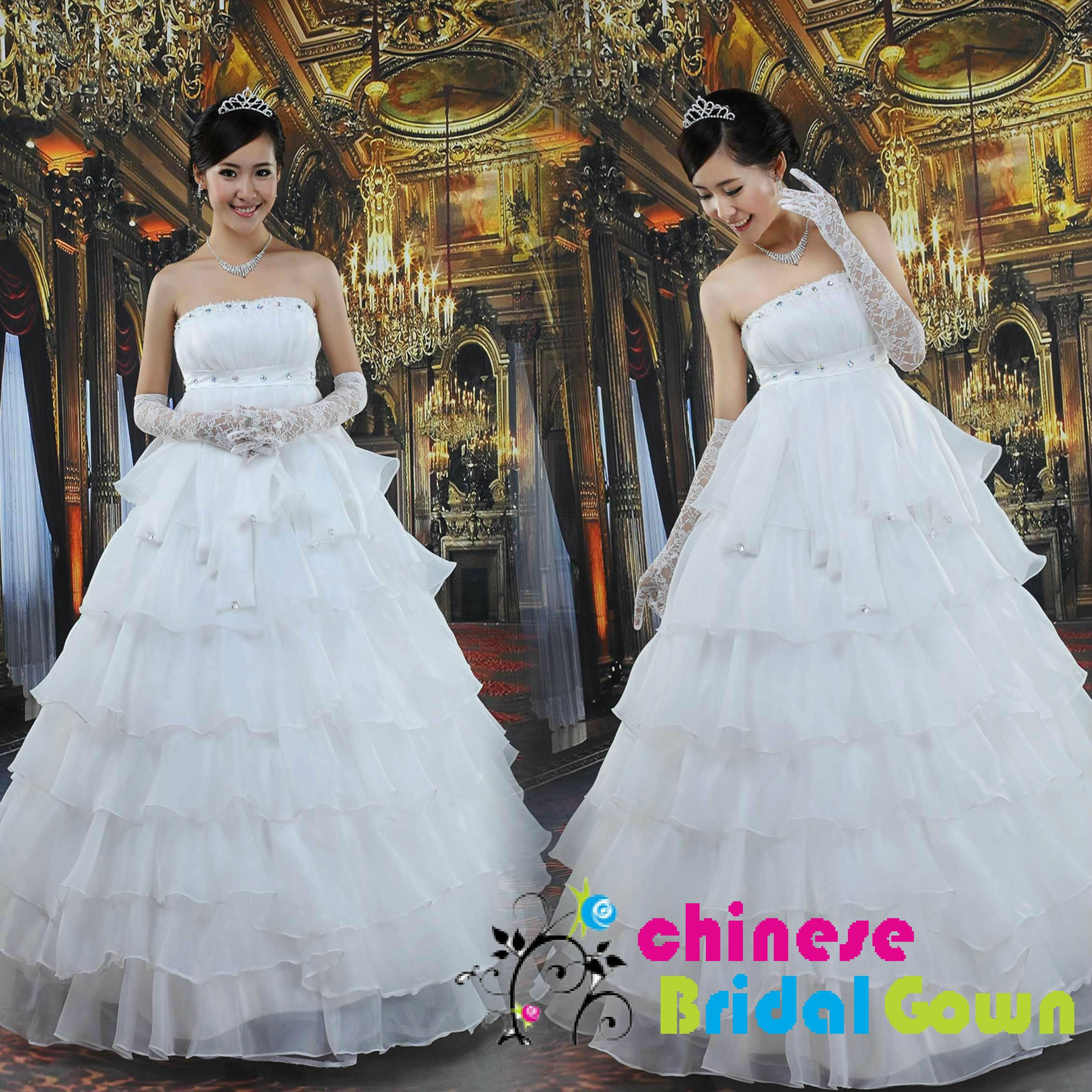 Style 9036, Organza A-line Strapless Chinese Wedding Dress by CBG ...