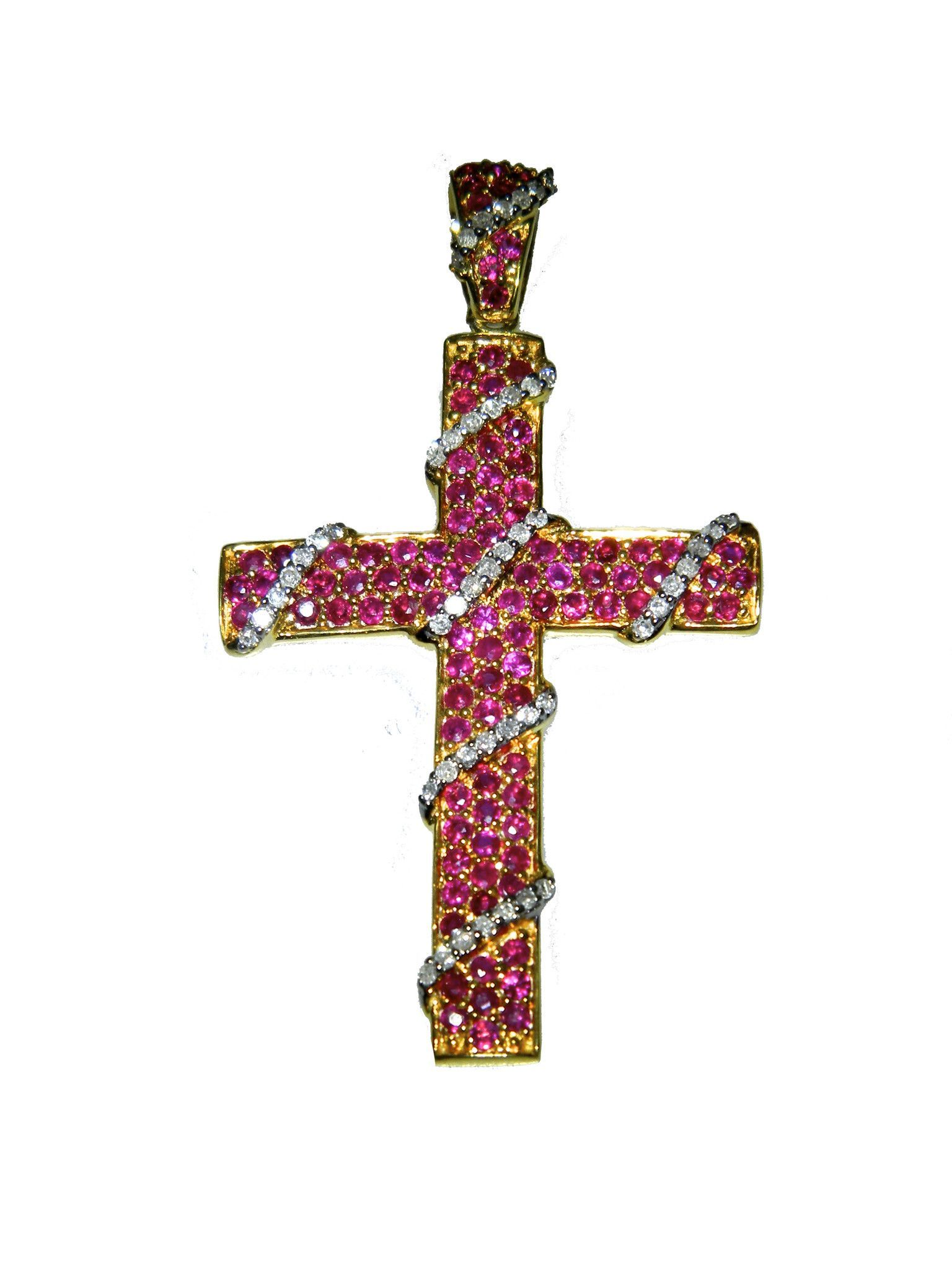 Estate 14Karat Yellow Gold Cross Round Rubies 1.00 cttw