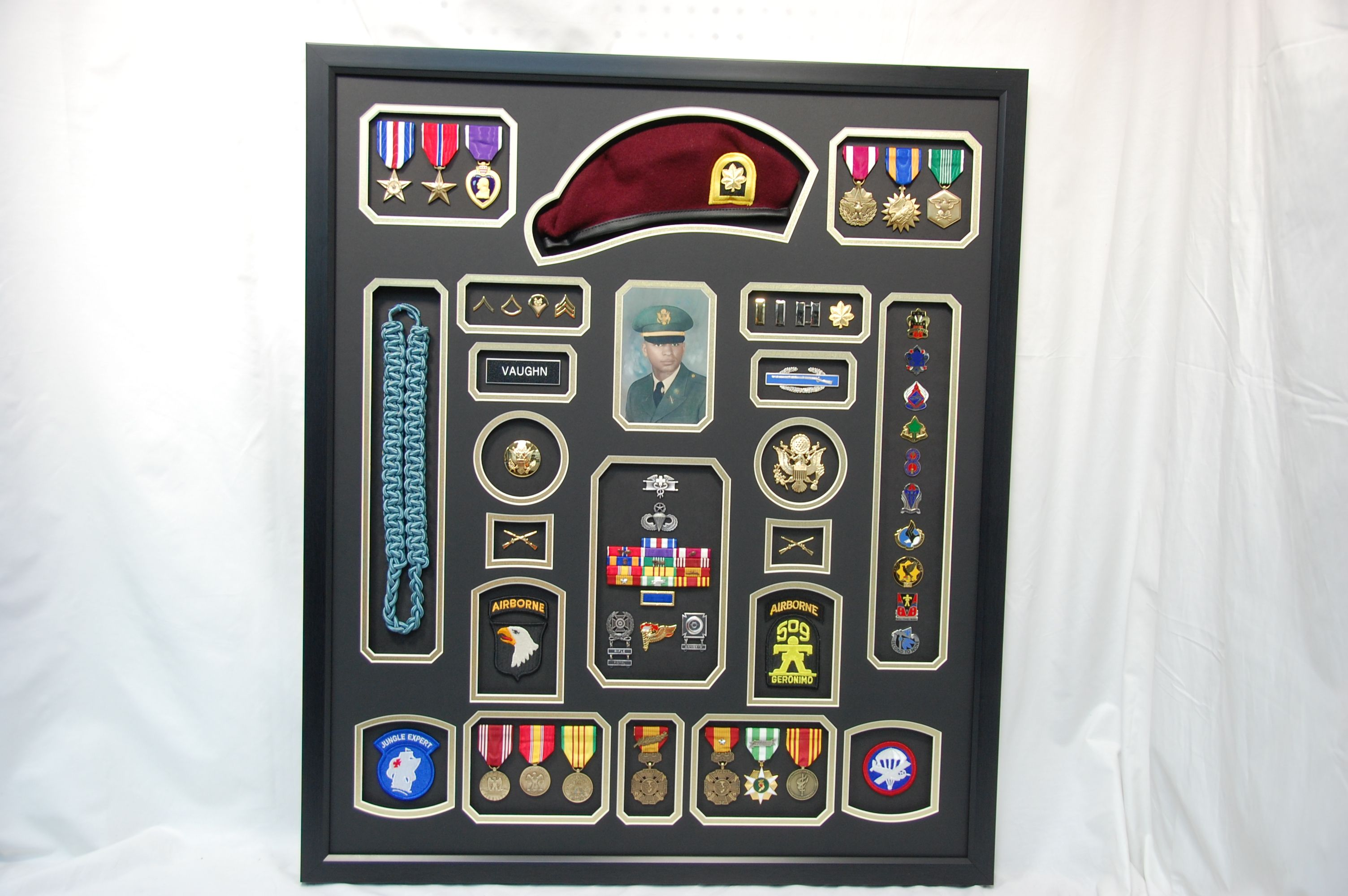 United States Army Airborne Shadow Box Display W Beret Military Shadow Box Scrapbook Shadow Box Shadow Box Display Case