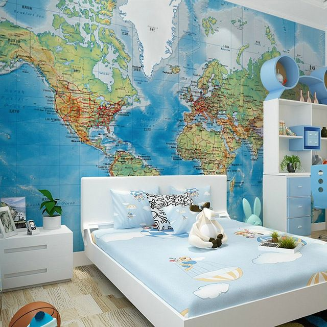 Bedroom Ideas Ireland Bedroom Design For Kids Boys Bedroom Designs For Small Rooms Bedroom Ideas Dark Walls: HD Stereo Satellite World Map Murals Wall Paper Study Room