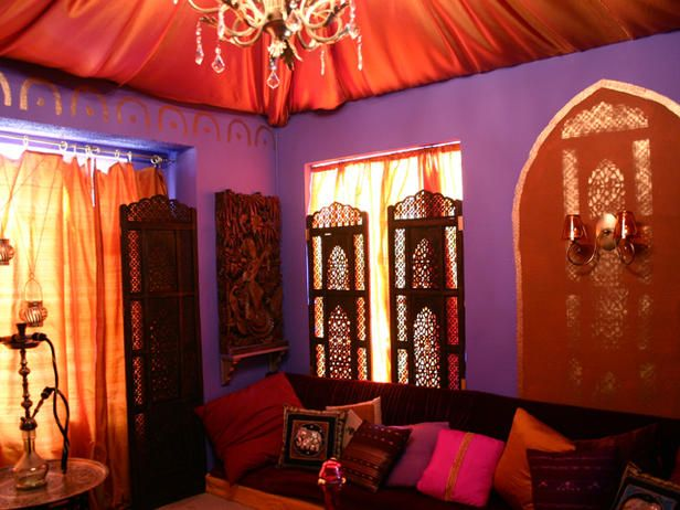 purple moroccan walls | Astonishing Moroccan Living Room Purple ...