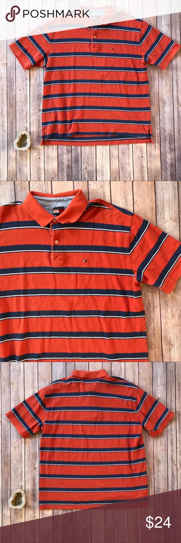 22a7c29e Tommy Hilfiger Vintage striped polo shirt men's XL This is a vintage Tommy  Hilfiger striped polo shirt in orange and navy blue stripes.