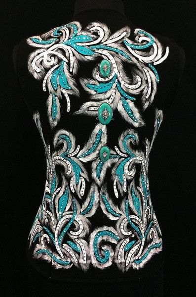 Stunning western horse show vest in turquoise, black and white