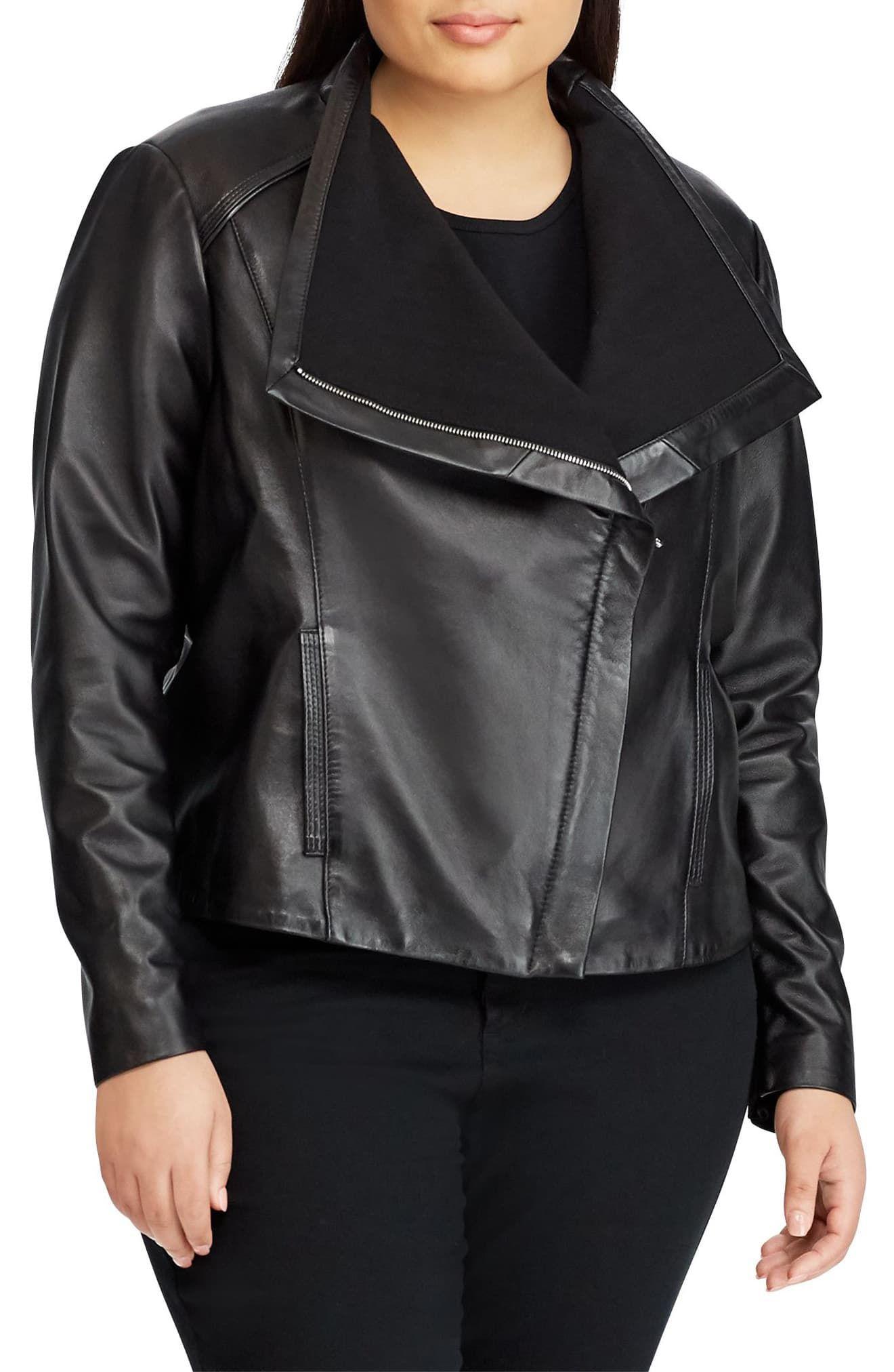 Lauren Ralph Lauren Drape Front Leather Jacket Plus Size Nordstrom In 2021 Leather Jacket Bulletproof Clothing Celebrities Leather Jacket [ 2024 x 1320 Pixel ]