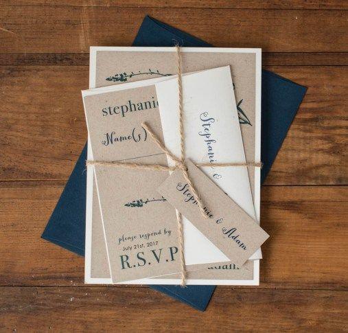 Rustic Navy Customizable Blue Brown Wedding Invitations Beacon Lane