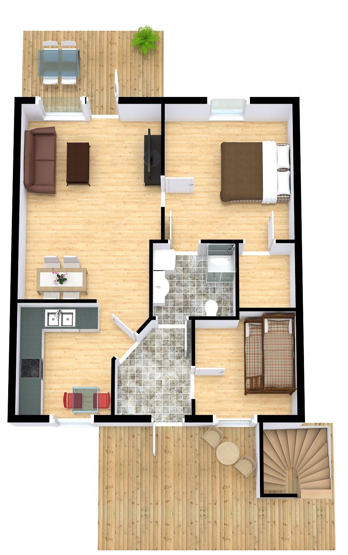 3d Floor Plan Featuring Stairs Hardwood Floors Tile Flooring