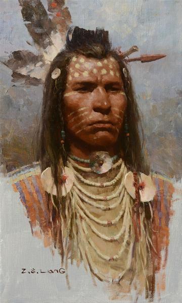 Z.S. LIANG BLOOD BRAVE oil on canvas 20 x 12 in (50.8h x 30.48w cm) $7,800