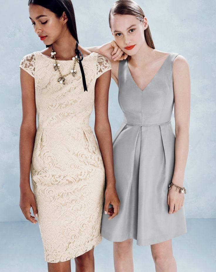 J.Crew Elsa dress in leavers lace and Kami dress in classic faille.
