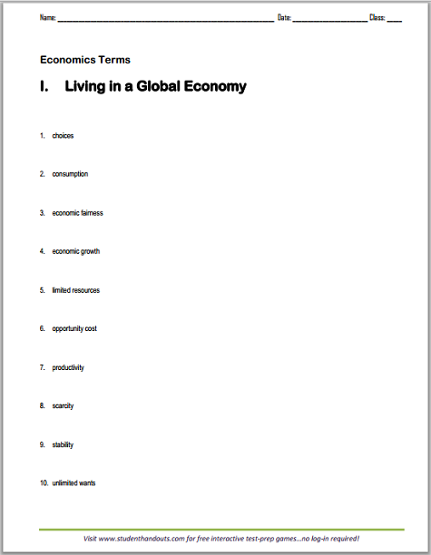 Living in a Global Economy Terms Worksheet - Free to print (PDF file ...