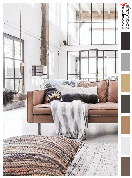 Color Palette For White Loft With Rustic Brown Accents, Weathered Wood  Pilaster, Dark Bronze Windows, Light Gray Concrete Floor, Brown Leather  Modern Sofa, ...