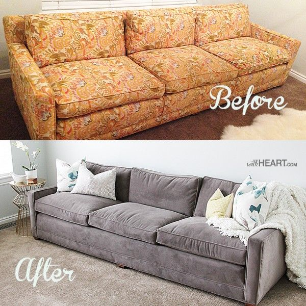 Remodelaholic 28 Ways To Bring New Life To An Old Sofa Old Sofa Reupholster Couch Diy Reupholster Couch