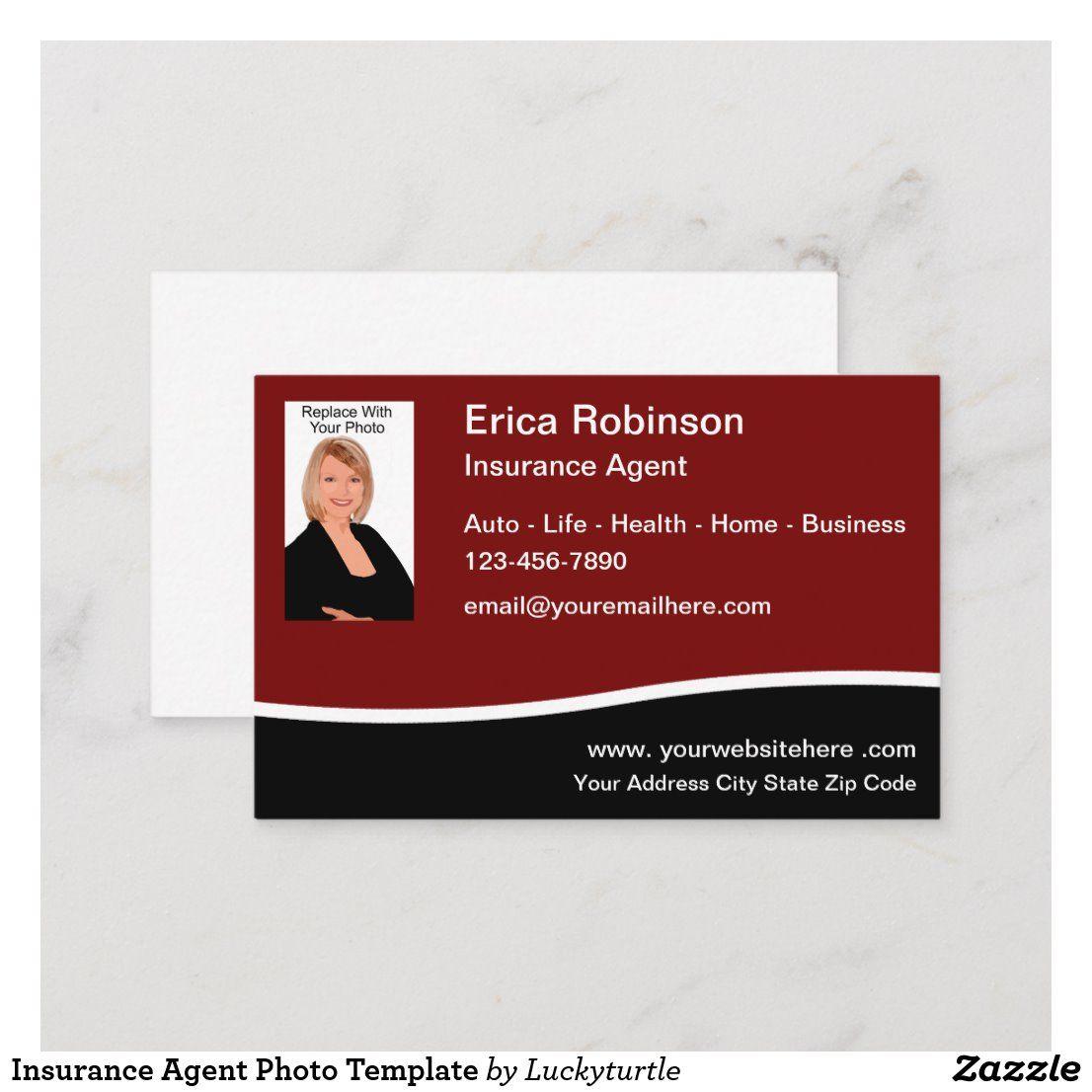 Insurance Agent Photo Template Business Card Zazzle Com Life Insurance Marketing Marketing Business Card Insurance Agent