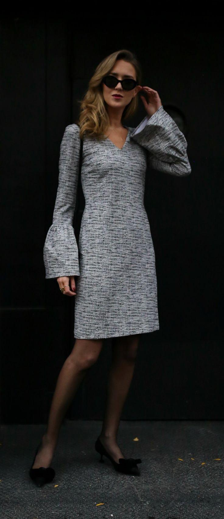 Tweed Bell Sleeve Sheath Dress Black Suede And Velvet Bow