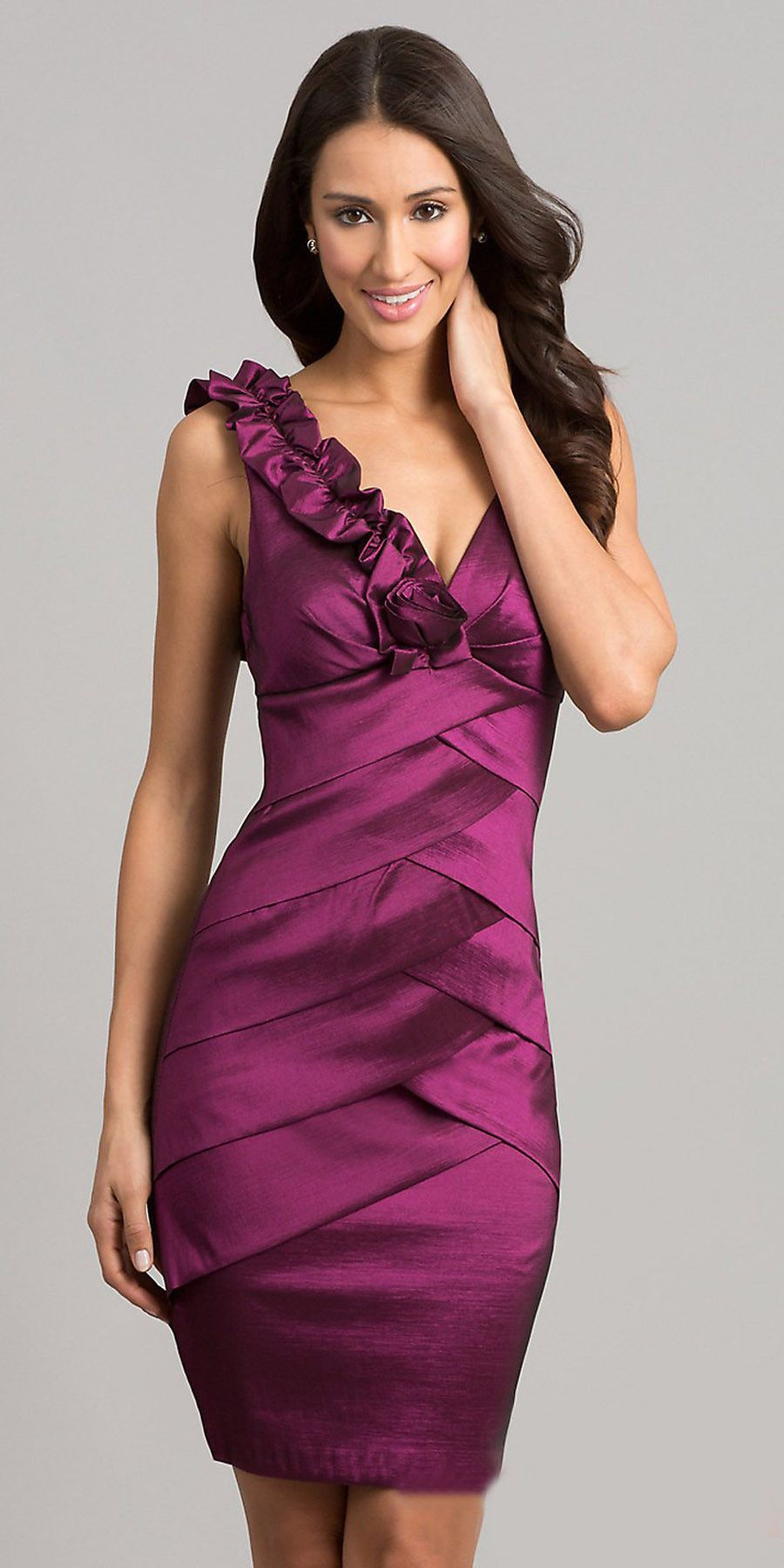CLEARANCE - Magenta Short Cocktail Dress V-Neck Layered Flowers ...