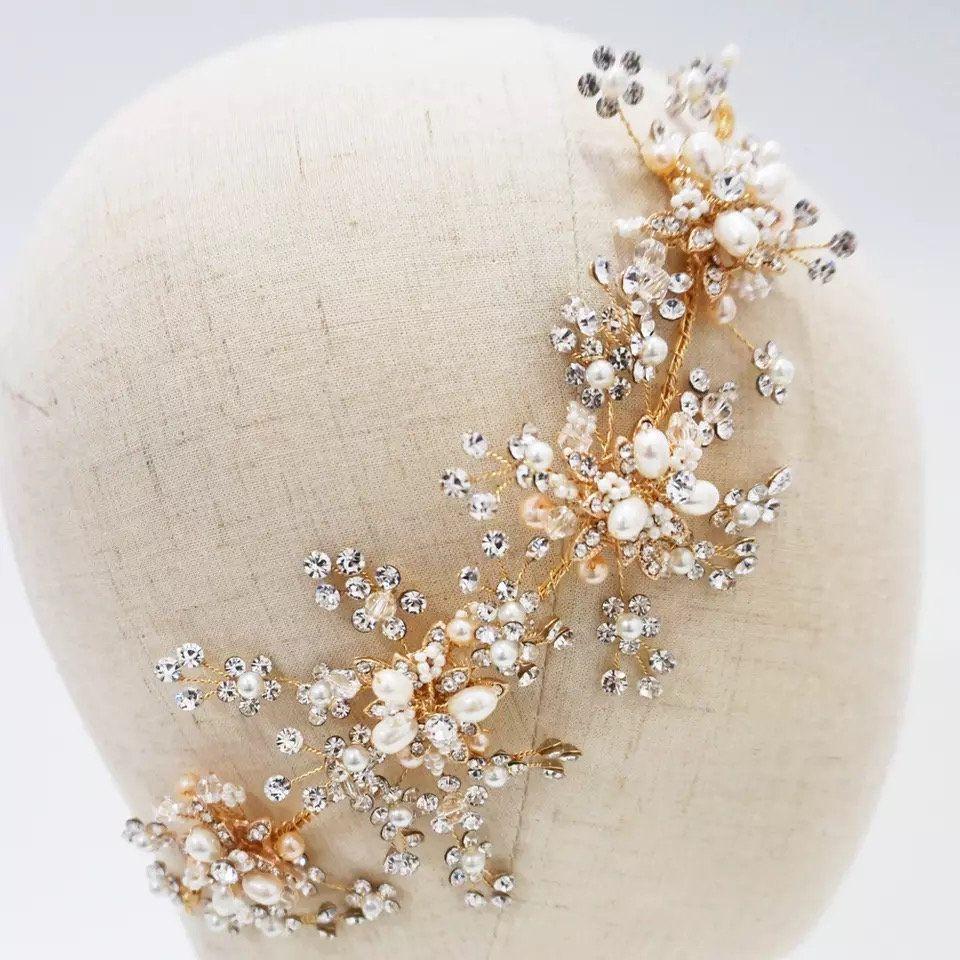 Pearls Bridal Headpiece Handmade Crystal And Rhinestone Floral Wedding Hair Accessories Prom Brides Hair Jewelry,flowers headband, headband