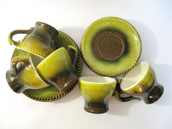 Ceramic tea set / coffee set for 5 persons, 10 pcs / cups / mugs, saucers, plates / made in USSR / green yellow brown natural spring colors on Etsy, $33.00