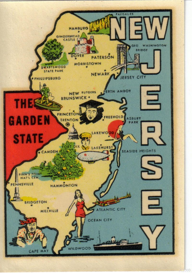 Asbury Park New Jersey Map.New Jersey Vintage Travel Decals Pinterest Bergen County