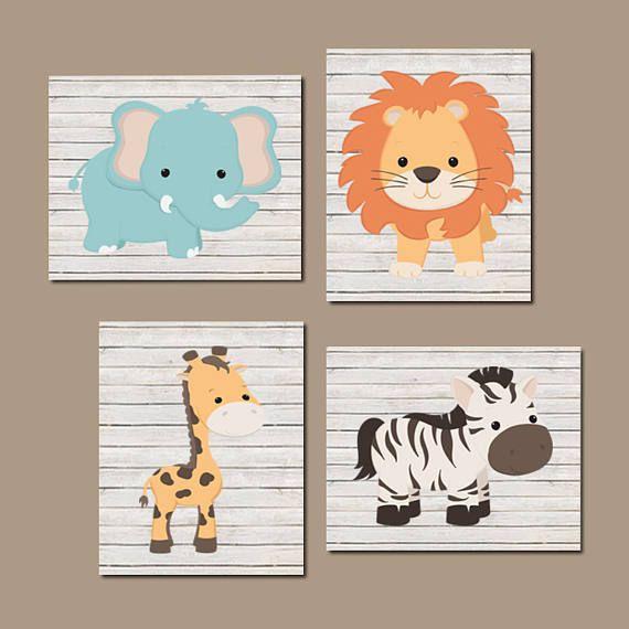 Baby Animal Nursery Safari Art Prints Or Canvas Set Of