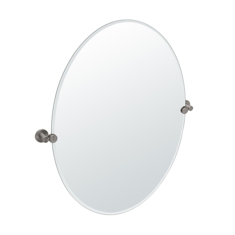 Gatco 4699lg Channel Large Oval Beveled Tilting Wall Mirror Satin