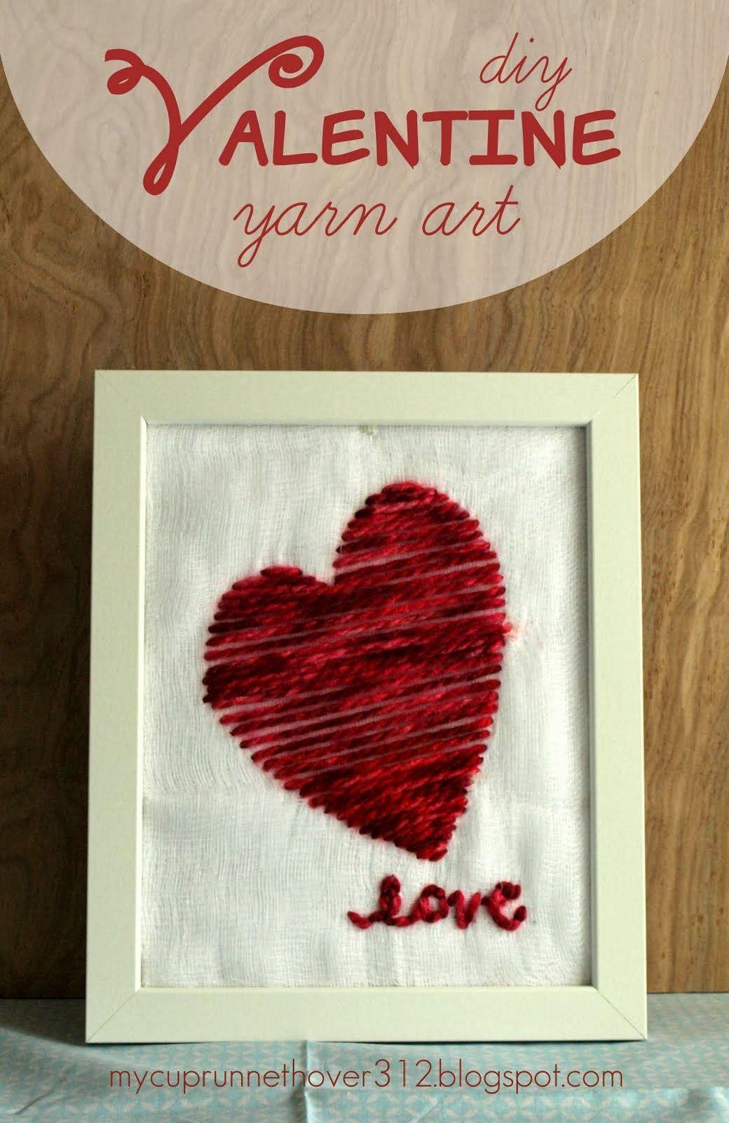super simple diy valentineus day yarn art