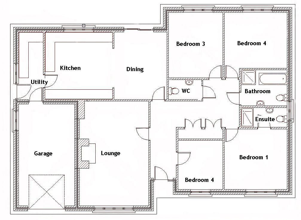 Awesome 4 Bedroom Bungalow Floor Plan Design And Description Bungalow Floor Plans Four Bedroom House Plans 4 Bedroom House Plans
