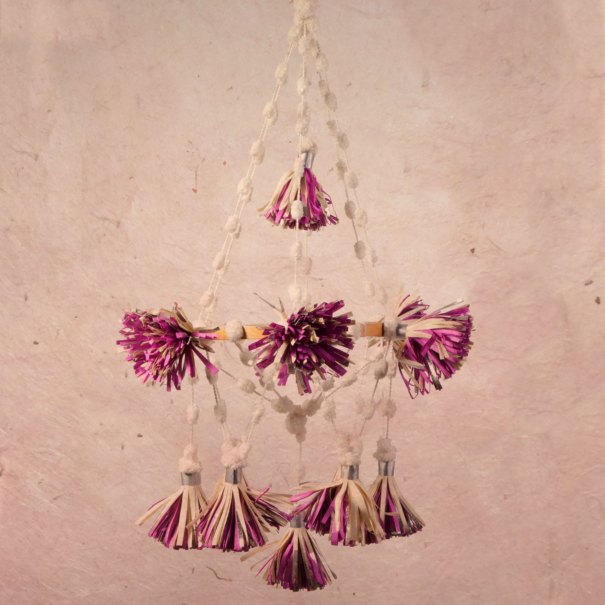 Paper pouf pom pom chandelier pink handicraft crafty fox and one of the crown jewels from our handmade festoon collection a design evocative arubaitofo Gallery