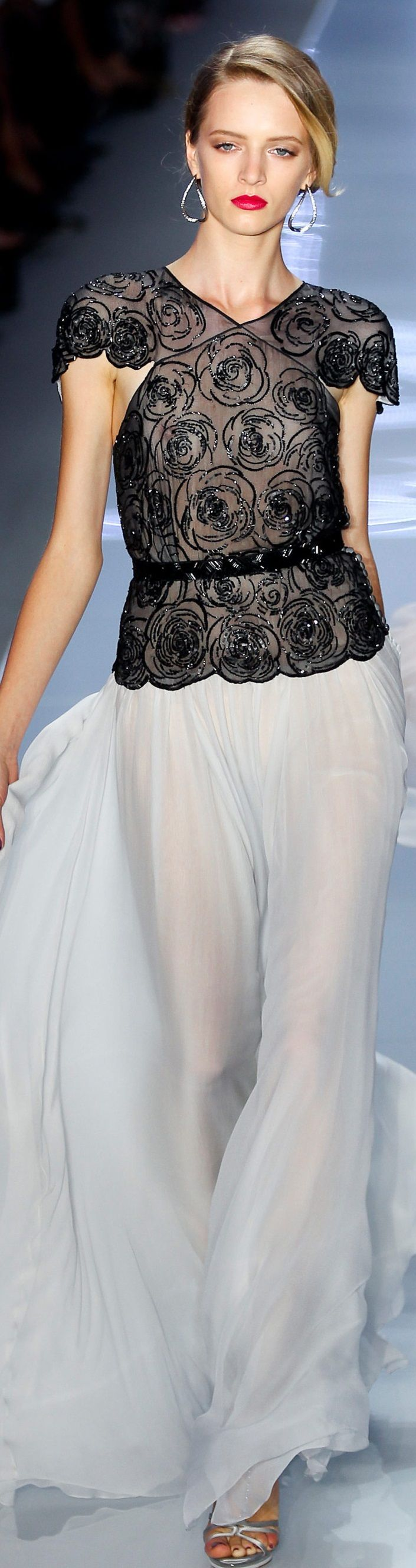 Christian Dior ~ Elegant Black Embroidered Sheer Top w White Sheer ...