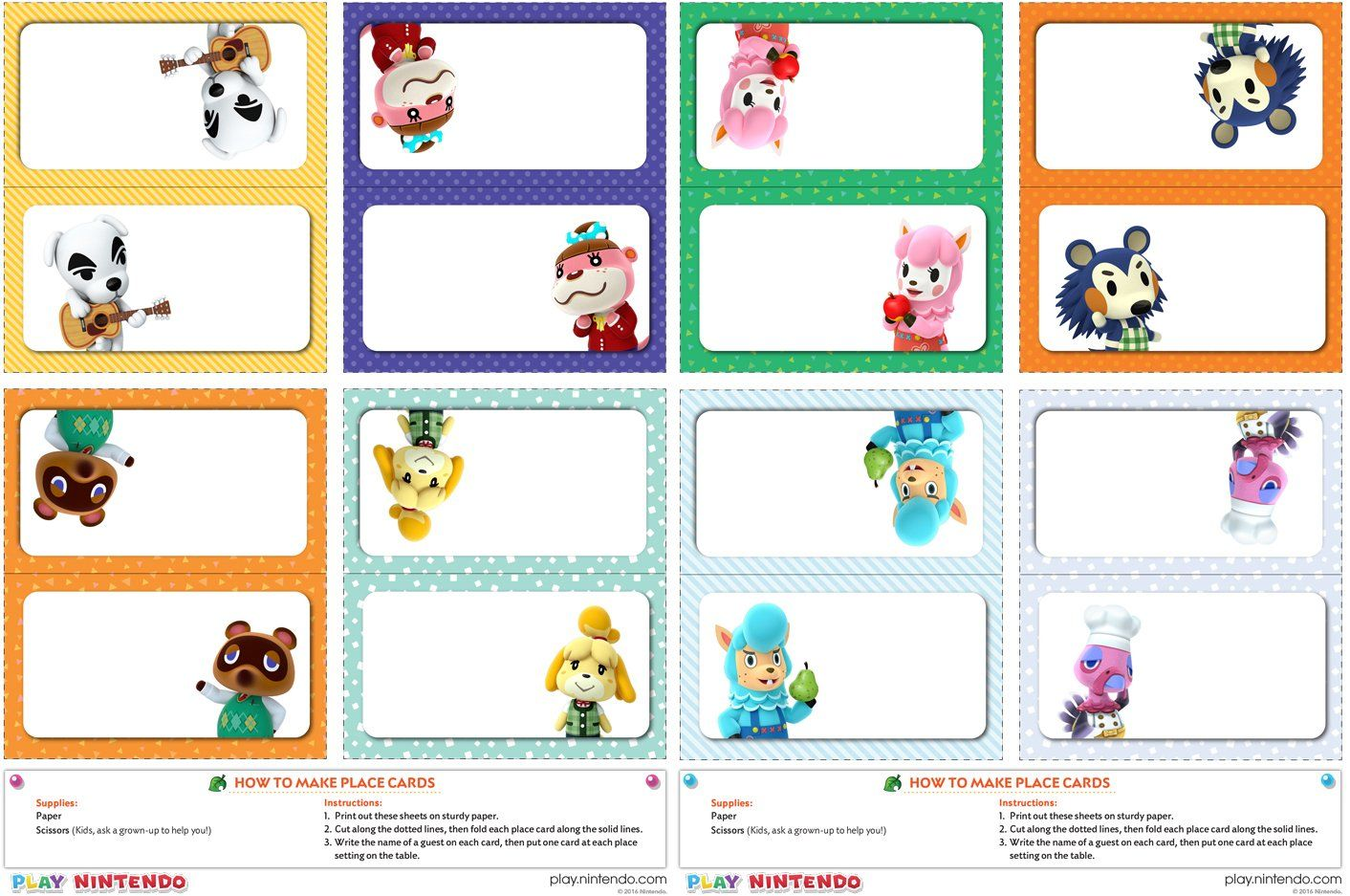 Nintendo Printable Place Setting Card Template Play Nintendo Printable Place Cards Place Setting Cards Cards