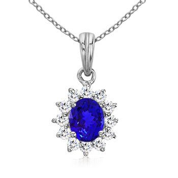 Angara Blue Sapphire and Diamond Halo Pendant in Platinum sSVUMWG