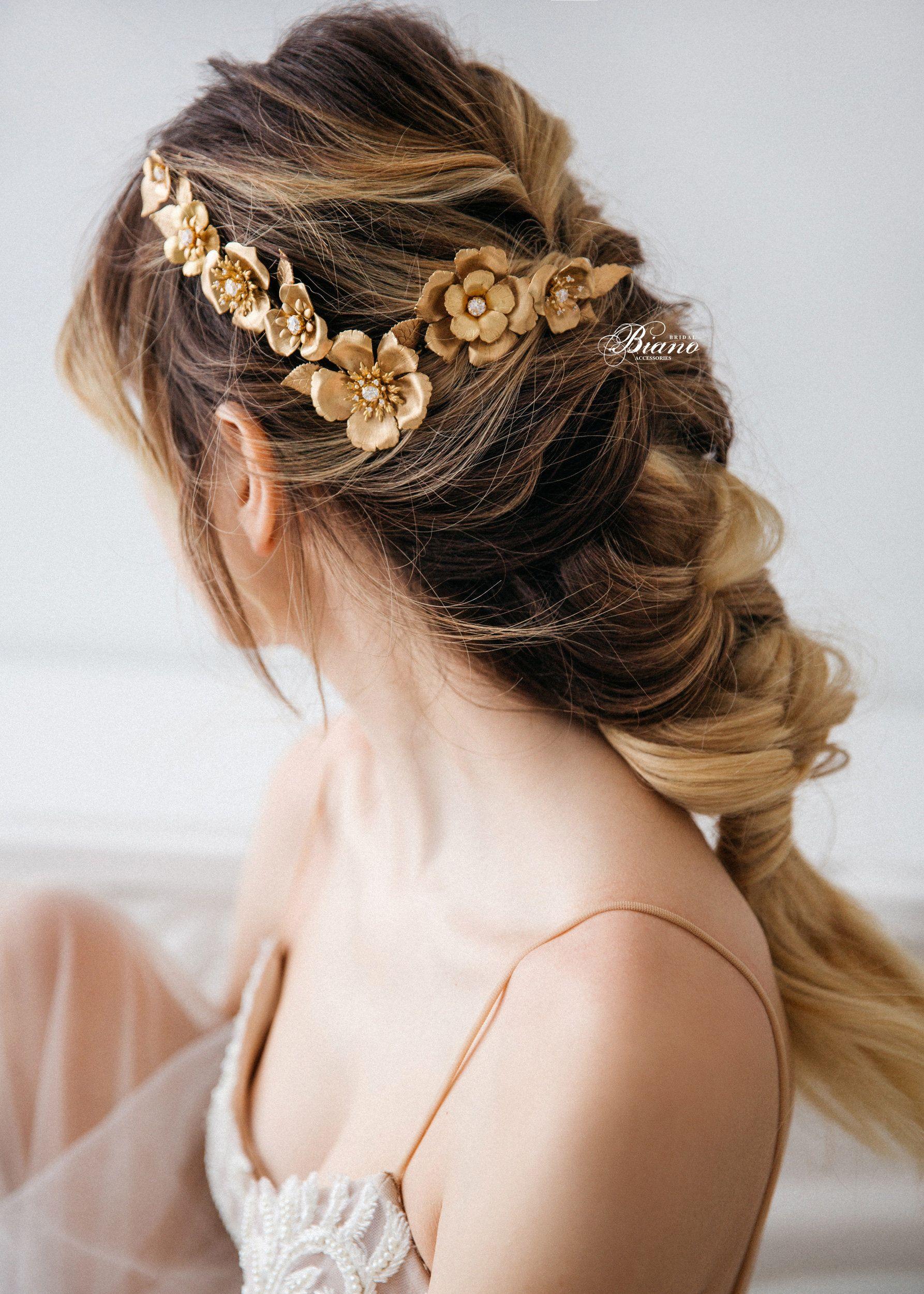 gold headband, wedding hair accessory,leaf hairband, flower