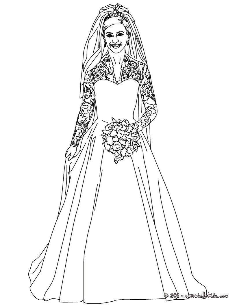 Kate And William Coloring Pages Kate Middleton S Royal Wedding Dress Wedding Coloring Pages Free Wedding Dress Patterns Funny Wedding Dresses