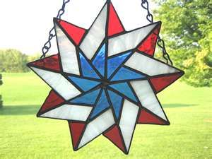 Stained Glass Patriotic Red White & Blue Star by GlassPizazz